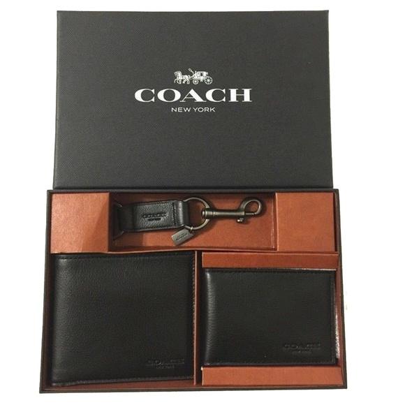 dae71bb15bd4 Coach Black Mens Compact Id Sport Wallet Set